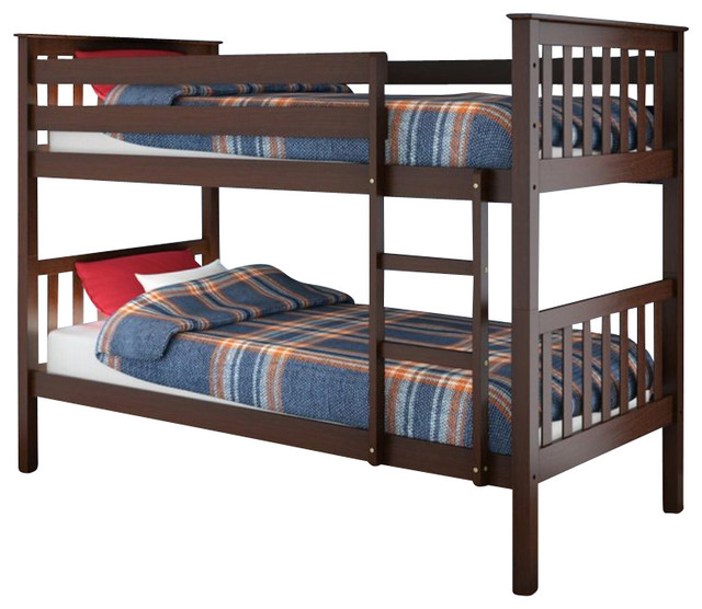 Sonax CorLiving Monterey Solid Wood Twin (Single) Bunk Bed in Espresso Brown transitional-beds