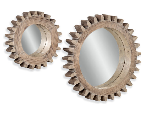 Bassett Mirror - Bassett Mirror Sprockets Wall Mirror - Wood grain and a gear-shaped frame give this wall mirror combo a heavy dose of steampunk. Whether in your hallway, entry or living room, this rustic throwback to the days of zeppelins and steam-powered mechanics will have guests talking in no time.