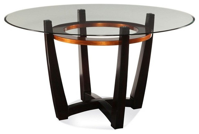 Bassett Mirror Elation Round Glass Top Dining Table D1078 700 Traditional Dining Tables