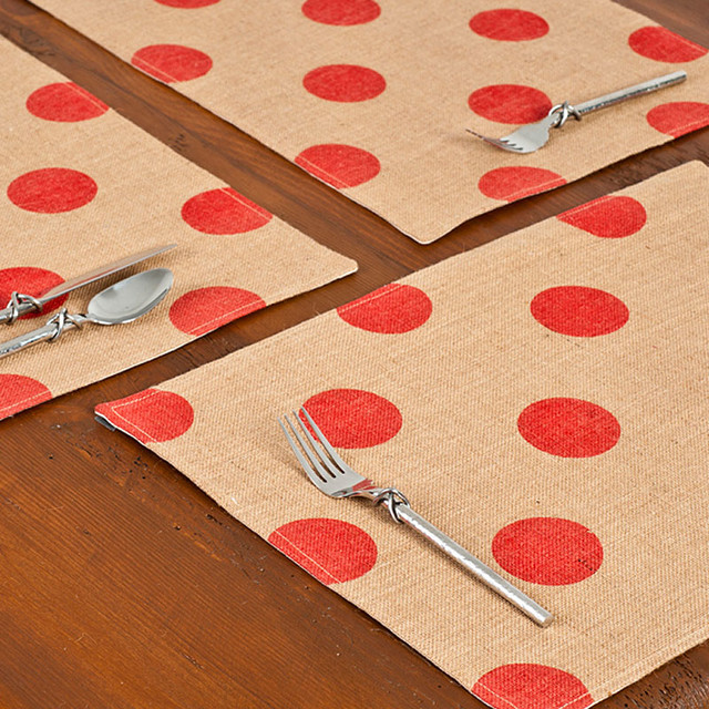 ecoaccents Red Dot Burlap Placemats, Set of 6 contemporary-placemats