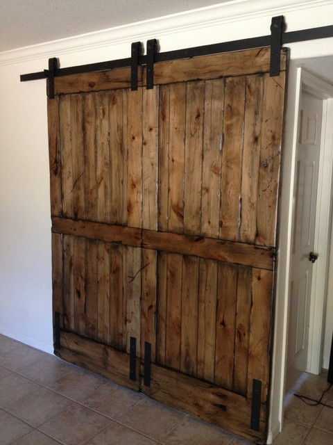 Sliding Barn Door - Double-size Distressed Knotty Alder - Eclectic - Interior Doors - phoenix ...
