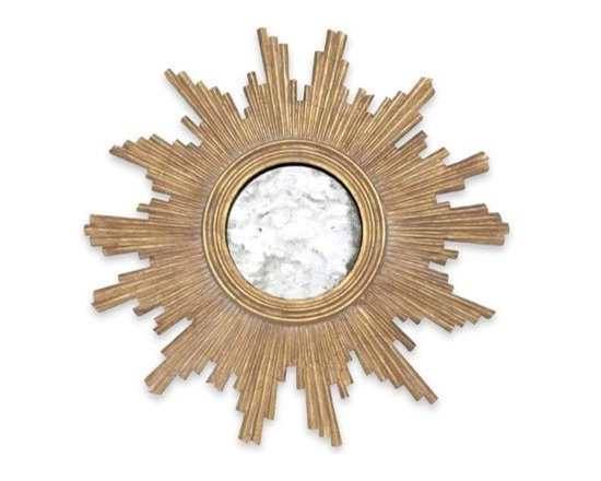 Worlds Away Versailles Gold Leaf Starburst Mirror - Gold Leafed Handcarved Mirror With Antqiue Mirror Inset.