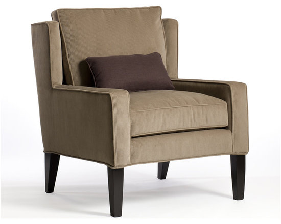 Lindsay Chair - A modern reinvention of the wing chair, Lindsay is more angular and clean than the traditional wing chair. Its low arms and shortened vertical 'wings' make it a chair far more suited to conversation that its predecessors. Although it has an upright and tidy appearance, this is one chair you just have to sit in to appreciate! Shown in soft brown corduroy, the soft seating in the back and seat cushions provide ample comfort for long sittings and the back pitch offers good support. An excellent traditional living room chair with a modern twist!