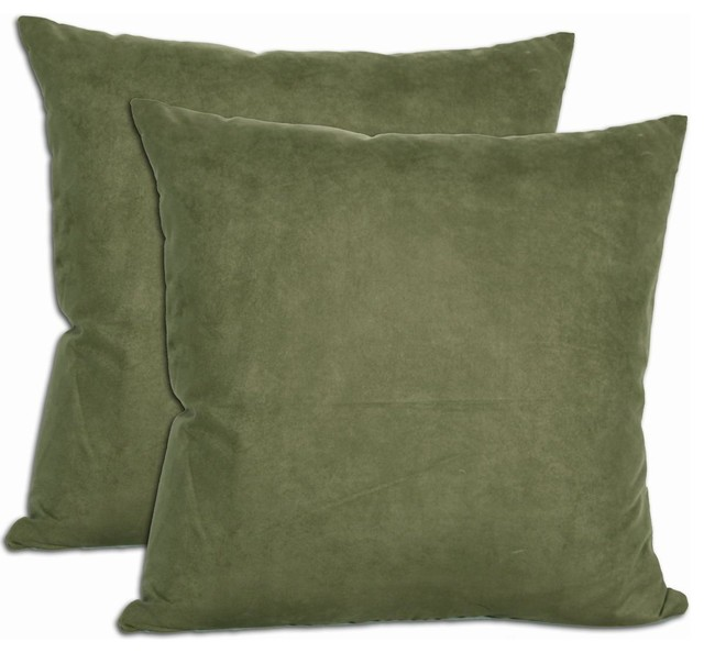 Decorative Pillows With Green : Green Microsuede Feather and Down Filled Throw Pillows (Set of 2) - Contemporary - Decorative ...