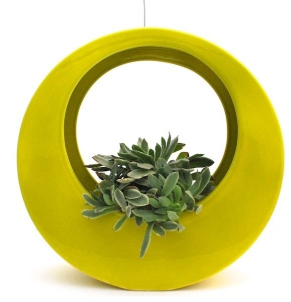 The Circle Pot by Potted, Chartreuse contemporary-indoor-pots-and-planters