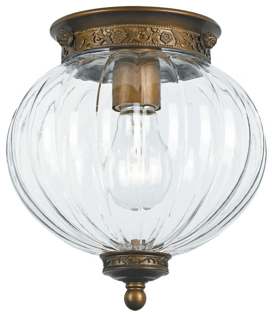Antique brass melon jar glass ceiling light traditional - Clear glass ceiling light ...