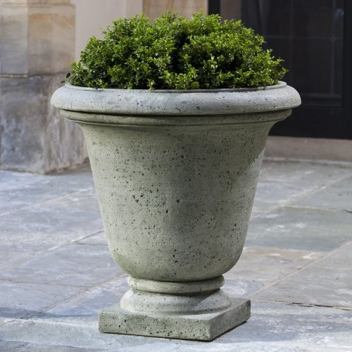 Campania International Rustic Hampton Cast Stone Urn Planter traditional-outdoor-pots-and-planters