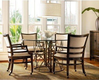 Latitudes 5 Piece Round Glass Dining Set modern-dining-tables