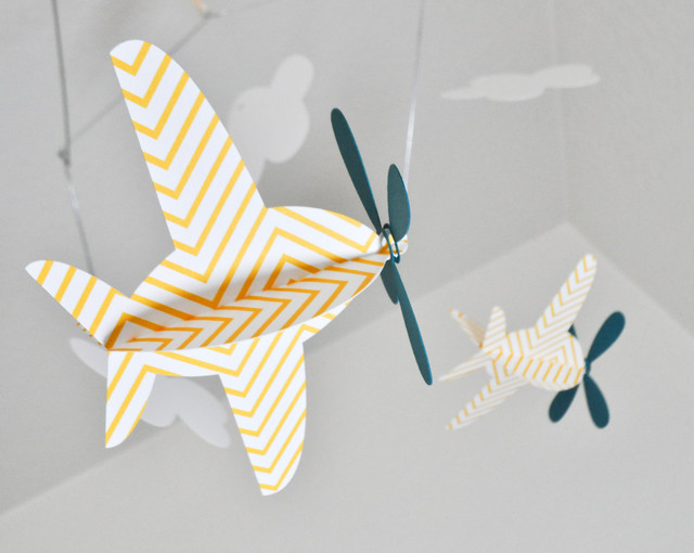 baby mobile airplanes in yellow chevron and teal by cactus. Black Bedroom Furniture Sets. Home Design Ideas