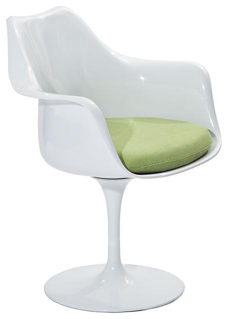 MODERN WHITE PLASTIC LOUNGE CHAIR WITH GREEN CUSHION LEBUS