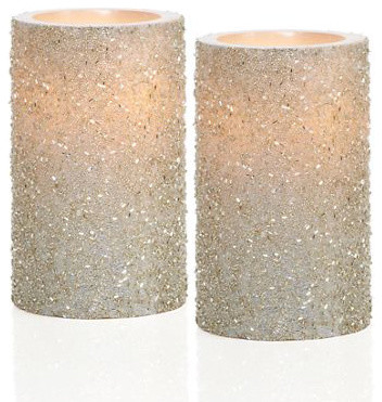 LED Glittered Pillar Candles contemporary-candles