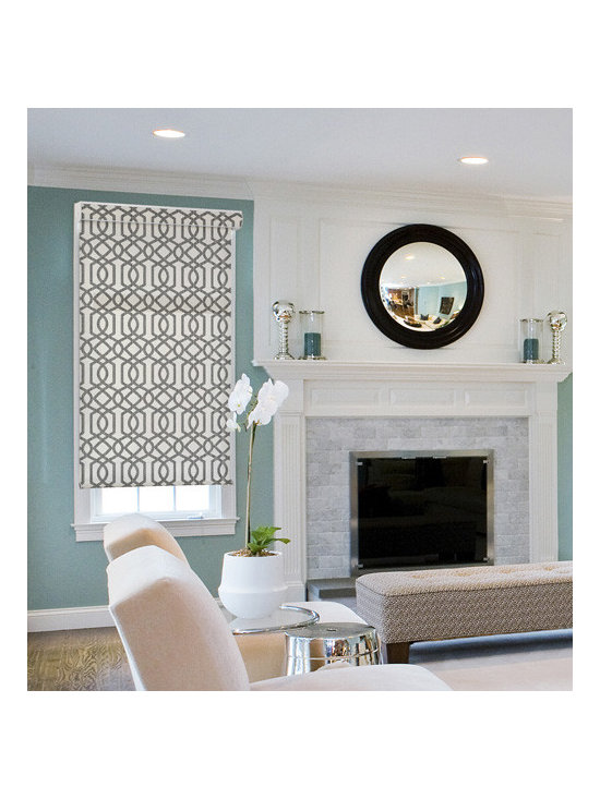 Simply Chic - Kellie Clements Simply Chic Roller Shades: Patterns - Want a bolder look for your room?  You'll love our Simply Chic roller shade patterns.  Choose from either the Trellis or Star-Crossed prints that make a statement with their design and color.  Available in light filtering or blackout fabric; choose the fabric that best meets your room darkening requirements.