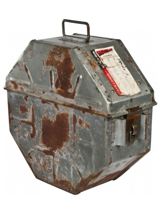 "1950's Metal Film Canister - Vintage galvanized film transport canister from the 1950's. Includes Movielab label indicating the canister was used for the movie ""A King in New York""."