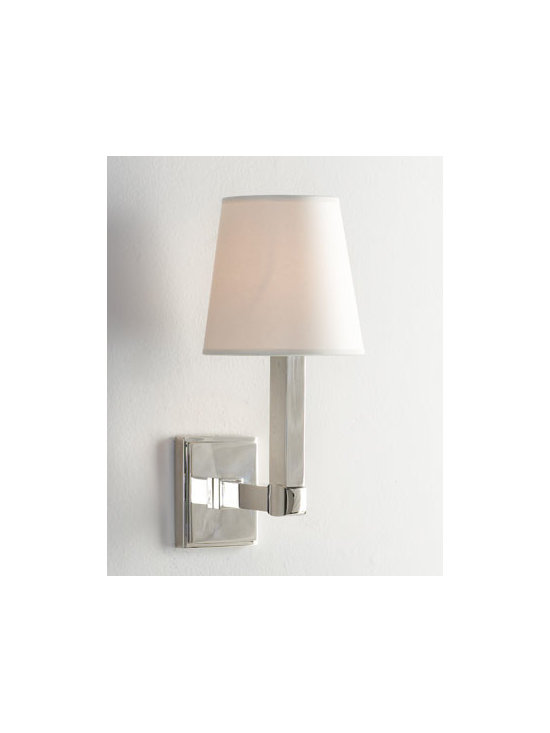 """VISUAL COMFORT - VISUAL COMFORT """"Square Plate"""" Sconce - Polished nickel sconce with simplistic modern appeal offers ambiance in any setting. Balance the look with two. Handcrafted of brass. Polished-nickel finish. Natural parchment shade. Uses one 60-watt bulb. Professional installation required. 6...."""