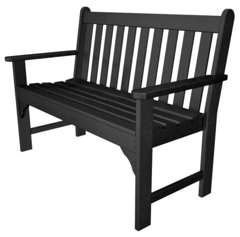 Polywood Recycled Plastic Vineyard Garden Bench Traditional Patio Furniture And Outdoor