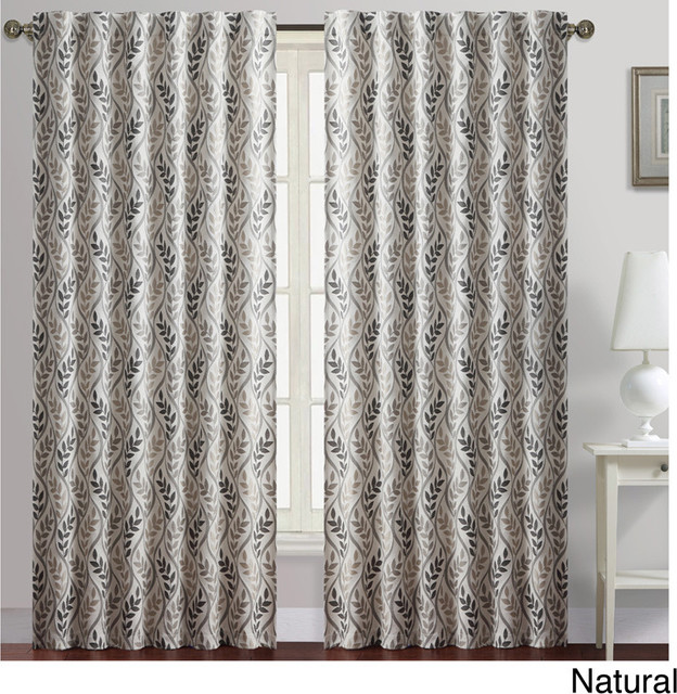 Rayna Leaves Print Blackout Curtain Panel - Contemporary - Curtains ...