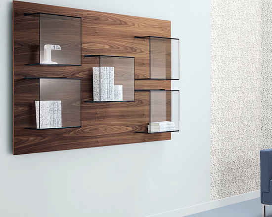 Dazibao Wall Shelf and Display - The Dazibao is designed by Gonzo and Vicari. A smart and modern way to incorporate display accessories onto a shelf panel so as to create wall art. Dazibao comes in a horizontal or vertical version with the back panel in a white or black lacquer finish. Back panel available also in canaletto walnut wood finish. Check with us on stock units in black or white.