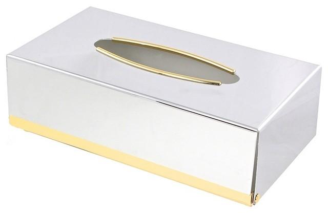 Contemporary Rectangle Metal Tissue Box Cover - Contemporary - Tissue Box Holders - by TheBathOutlet