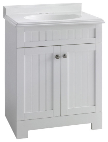 ESTATE by RSI 25-Inch White Boardwalk Bath Vanity with Top