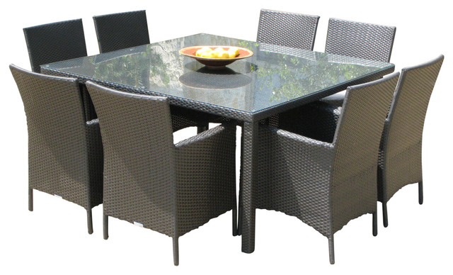 Outdoor Wicker New Resin 9 Piece Square Dining Table And