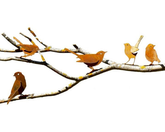 Metal Bird Silhouettes (Small) - A fabulous selection of the small songbirds and tree climbers normally found in our own backyards and gardens feeders. Ranging in size from three to five inches, each rustic bird is a non aerial one dimensional version of its chirpy, chatty feathered model – without the seed spillage. The nuthatch is so realistic it's even depicted racing down a tree head first! Scroll down to see your favorites.