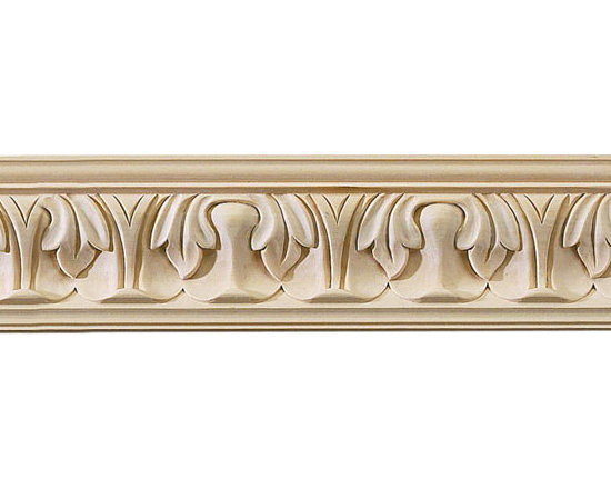 "Inviting Home - Wayland Carved Crown Molding (large) - cherry wood - cherry hardwood crown molding 3-9/16""H x 3-3/4""P x 5""F sold in 8 foot length (3 piece minimum required) Hand Carved Wood Molding specification: Outstanding quality molding profile milled from high grade kiln dried American hardwood available in bass hard maple red oak and cherry. High relief ornamental design is hand carved into the molding. Wood molding is sold unfinished and can be easily stained painted or glazed. The installation of the wood molding should be treated the same manner as you would treat any wood molding: all molding should be kept in a clean and dry environment away from excessive moisture. acclimate wooden moldings for 5-7 days. when installing wood moldings it is recommended to nail molding securely to studs; pre-drill when necessary and glue all mitered corners for maximum support."