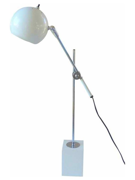 Sonneman Style Lamp - A mid century table lamp in the style of Robert Sonneman.  It has an orbital shade with and an adjustable arm to raise and lower the light, and sits on a wooden block stand.