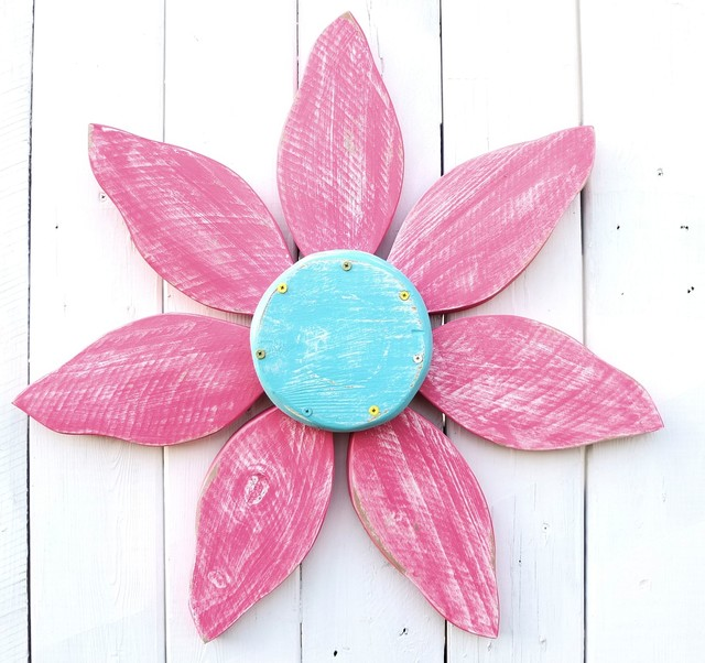 Shabby Chic Wood Flower | Wood Wall Art | Outdoor Home & Garden Decor, Turquoise beach-style-home-decor