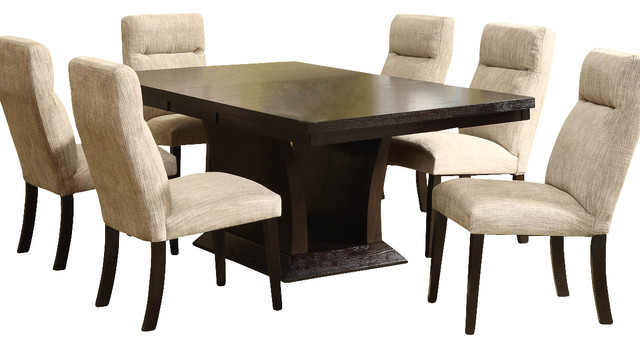Homelegance avery extension leaf pedestal dining table in for Traditional dining table for 8