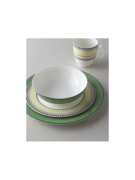 "kate spade new york - kate spade new york Four-Piece ""Hopscotch Drive"" Dinnerware Place Setting - Cheerful dinnerware from kate spade new york brightens your table with a fun combination of green, navy, and colorful dots. Made of porcelain. Dishwasher and microwave safe. Four-piece place setting includes 11.25""Dia. dinner plate, 9.25""Dia. salad p..."