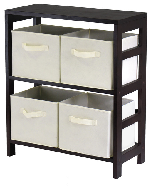 Capri 2-section M Storage Shelf with 4 Foldable Beige Fabric Baskets ...