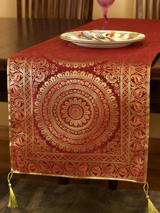 """Elegant Table Runners - Stunning """"Exotic Oriental Table Runner"""" Golden Saffron color. Hand crafted in India. Red Gold"""