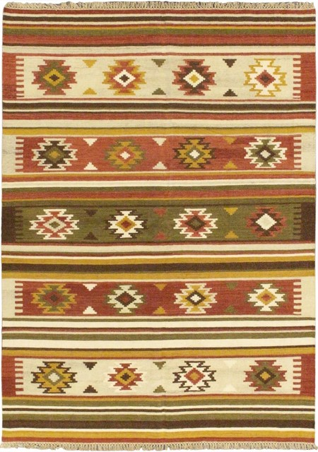 "Flat-weave Izmir Kilim Cream Wool Kilim 5'7"" x 7'10"" transitional-rugs"
