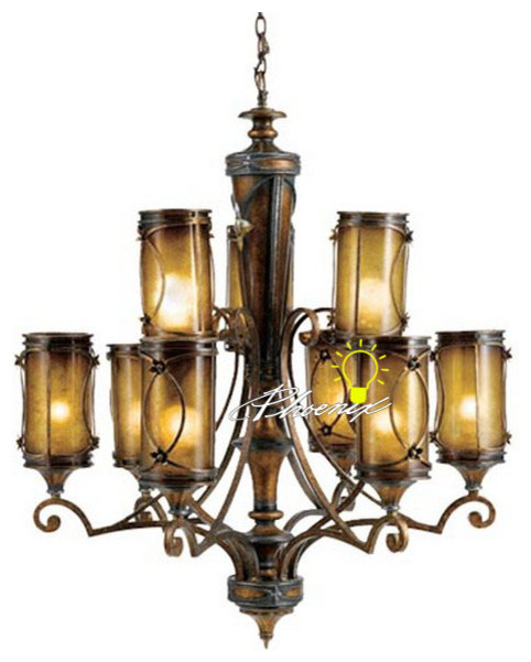Iron Art Resin and 6+3 Glass shapes Chandeliers contemporary-chandeliers