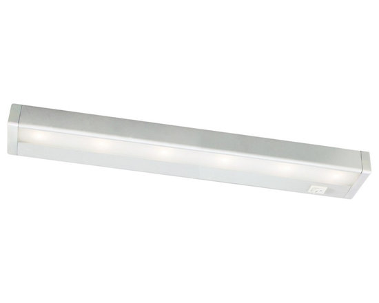 """WAC - WAC Satin Nickel LED 18"""" Wide Under Cabinet Light Bar - Bring out the best in your decor with this versatile LED light bar from WAC. Perfect for cabinets curios and kitchen counters this fixture contains energy efficient LED bulbs with a life of up to 50000 hours. It is also thermally efficient allowing use with heat and UV-sensitive artwork clothing and decor items. Satin nickel finish. Includes six LEDs. Output of 396 lumens. Energy efficient. 18"""" wide. 1 """" high. 2 3/4"""" deep.  WAC LED light bar.  Energy efficient.  Satin nickel finish.  Aluminum construction.  Acrylic lens.  Interconnection accessories available.  Dimmable with low voltage dimmer to 10%.  Includes six LEDs (9.7 total watts).   Light output 396 lumens.  Comparable to a 40 watt incandescent bulb.  2900K color temperature.  18"""" wide.  1"""" high.  2 3/4"""" deep.  1"""" inner connector and mounting hardware included."""