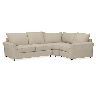 PB Comfort Roll Arm Upholstered Left 3-Piece Wedge Sectional, Knife-Edge Cushion traditional-decorative-pillows