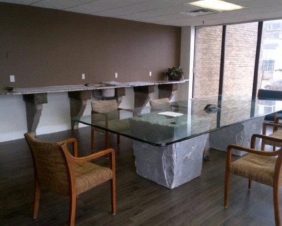 Unique Table Base For Office - This One Construction Office Conference Room - Unique Table Bases for Counter Top Against Wall