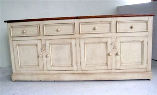 Country Style White Kitchen Hutch & Buffet