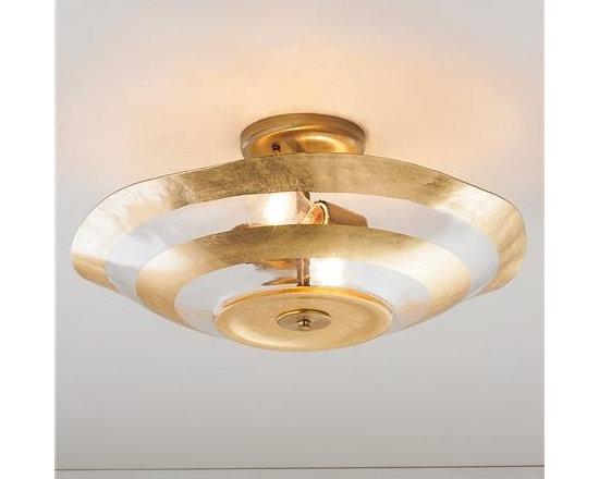 Metallic Rings Glass Ceiling Light, Gold Leaf -