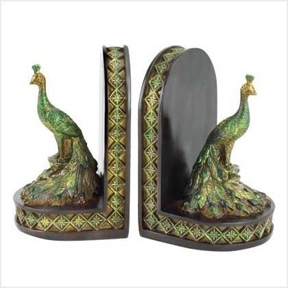 Peacock Bookends eclectic-bookends