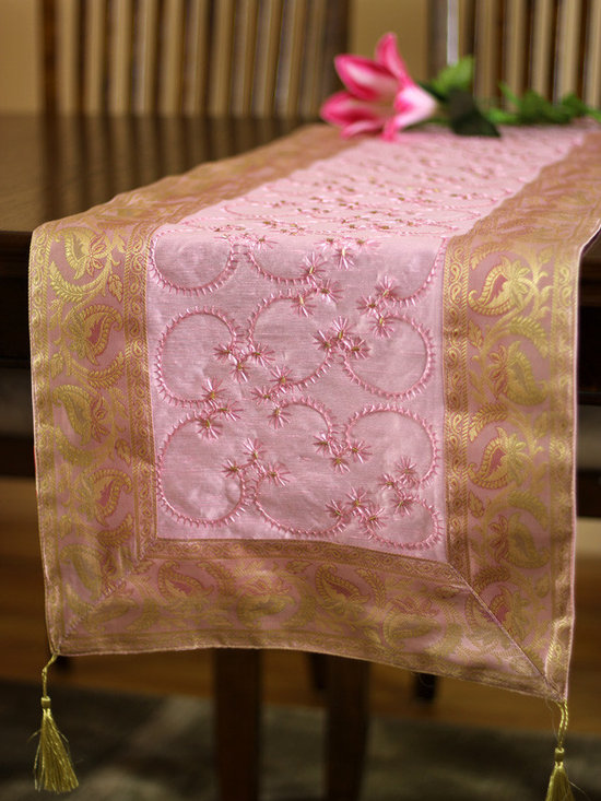 """Elegant Table Runners - Sweet """"Pink Rose"""" Table Runner. Indian hand embroidered design. Dupion fabric. Perfect decor idea to embellish your room."""