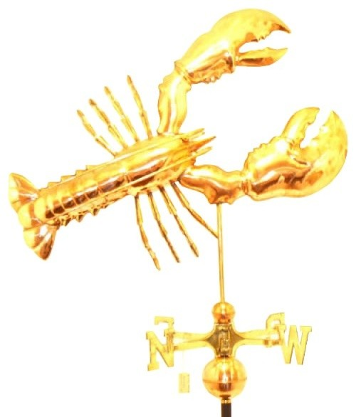 Copper Lobster Weathervane, Polished Finish eclectic-weather-vanes