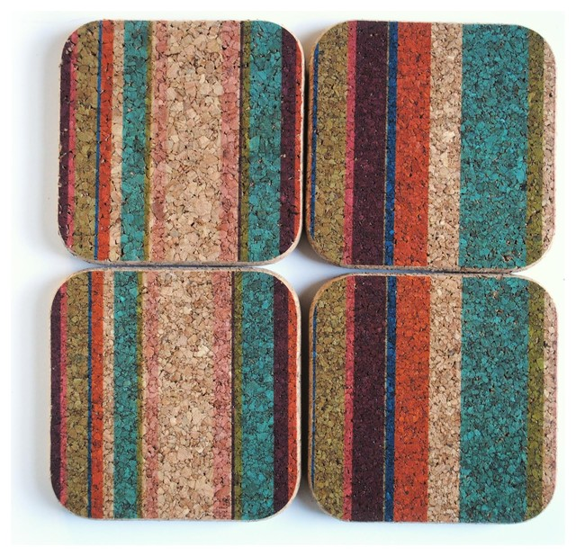 Square Coaster Set of 4, Tropical Stripe contemporary-barware