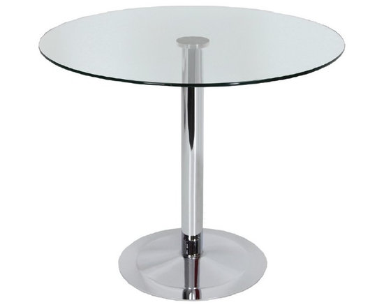 Lady Table Series by sohoConcept - Simple and functional, Lady Round demonstrates refined design features with its chrome plated round steel pedestal base. It is offered in three different heights and several different glass top size options. The tempered glass top is attached to the tubular post through a laser glued disk.The table arrives in 3 boxes. Lady Round is suitable for both residential and commercial applications. Lady Round designed by sohoConcept team.