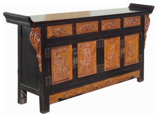 ... Vase Dragon Carving Buffet Table Chinese CaoZhou Antique Cabinet
