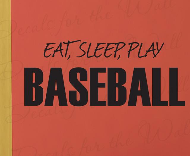Wall Decal Sticker Quote Vinyl Art Ear Sleep Play Baseball Boy's Sports Room S14 modern-decals