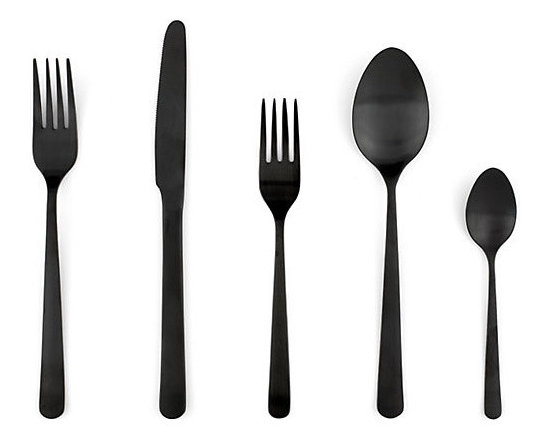 Almoco Flatware, Black - I think it is so creative how this gorgeous, unique, matte black cutlery is a stunning variation on the average utensil. Have you considered black for your cutlery?