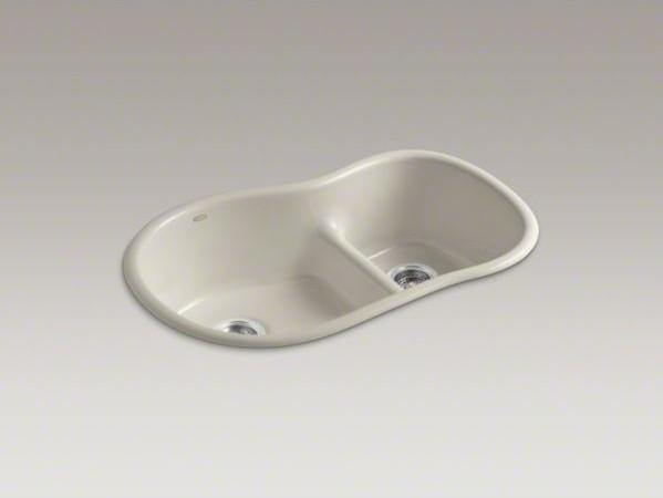 "KOHLER Iron/Tones(R) 33"" x 21-1/2"" x 9-11/16"" top-mount/under-mount Smart Divide contemporary-kitchen-sinks"
