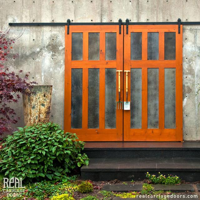 Exterior sliding barn doors contemporary garage doors for Sliding carriage doors