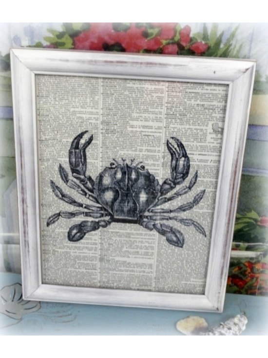 Seaside Living - Classic and elegant, a vintage crab image has been printed on a vintage dictionary page and framed in a white distressed 8 X 10 wooden frame. I love working with vintage book pages and loved creating this. Add this to your beach cottage decor and give your home a touch of vintage charm.